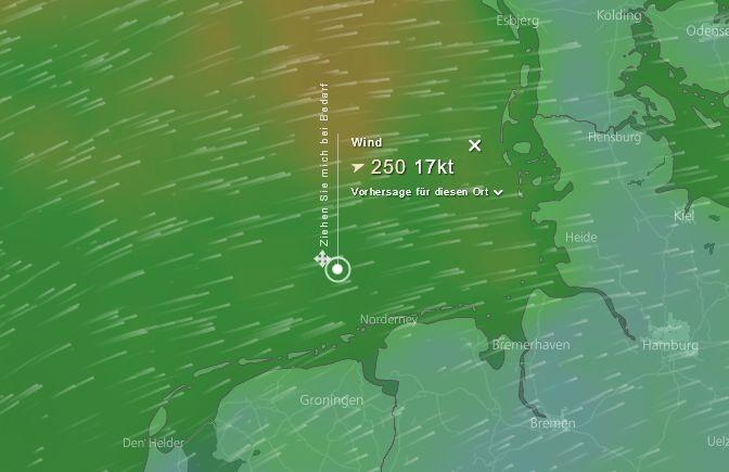Strömungsfilm der Windverhältnisse im Seegebiet von alpha ventus
